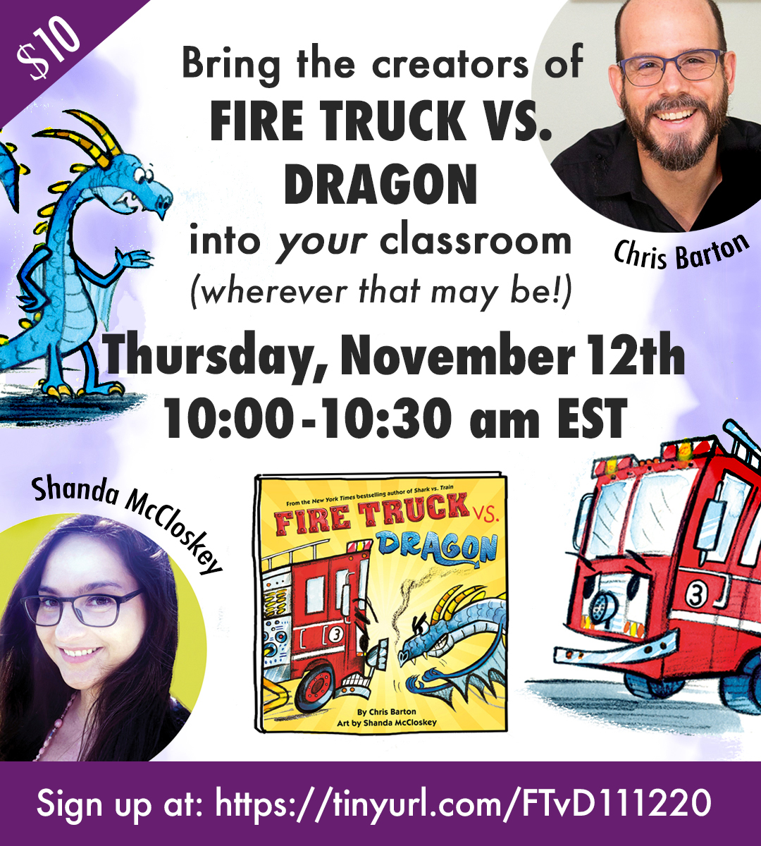 Join me live on November 12 with Fire Truck vs. Dragon illustrator Shanda McCloskey!