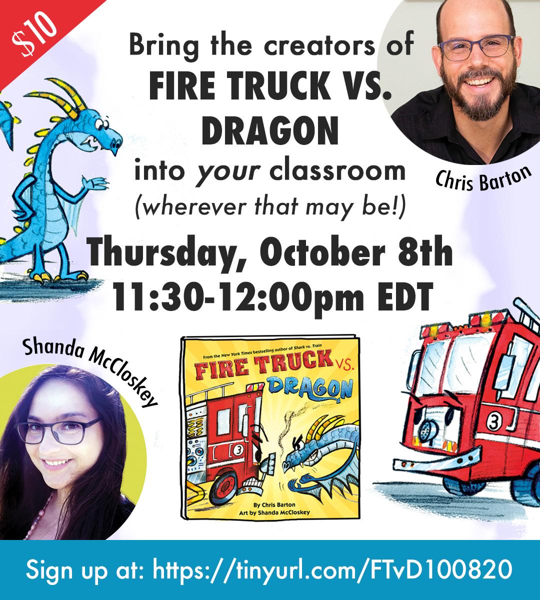 Join me live next Thursday morning with Fire Truck vs. Dragon illustrator Shanda McCloskey!